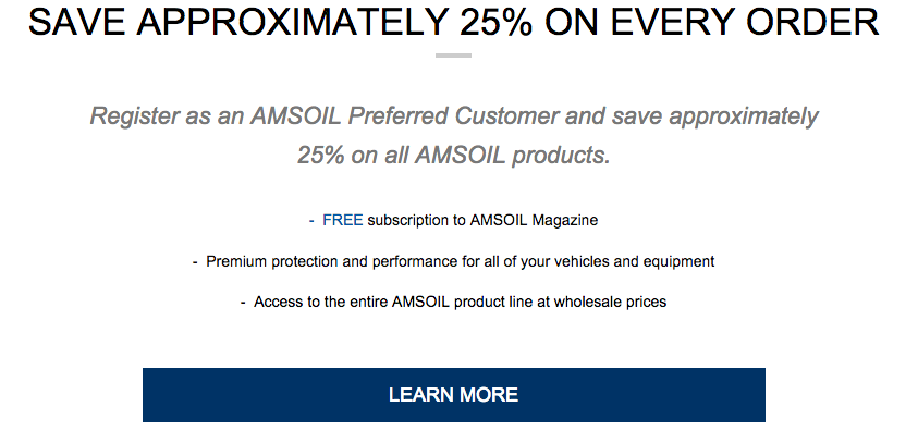 AMSOIL Canada Preferred Customer Program - Buy AMSOIL Cheap in Creston, BC